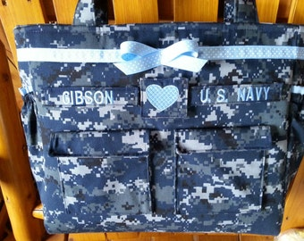Anchor Navy Diaper Bag custom embroidery and personalized colors for embroidery, lining and ribbon custom bag made to order