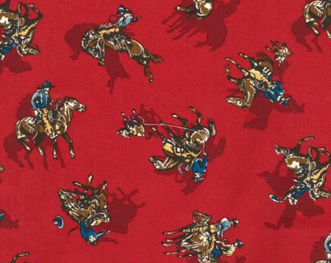 Red Cowboy Western Fabric,  Ride 'em Cowboy by Robert Kaufman