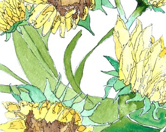 Greeting Cards: Watercolor Sunflowers with Pen and Ink, Set of 4 Blank Note Cards, 4.25x5.5 inches