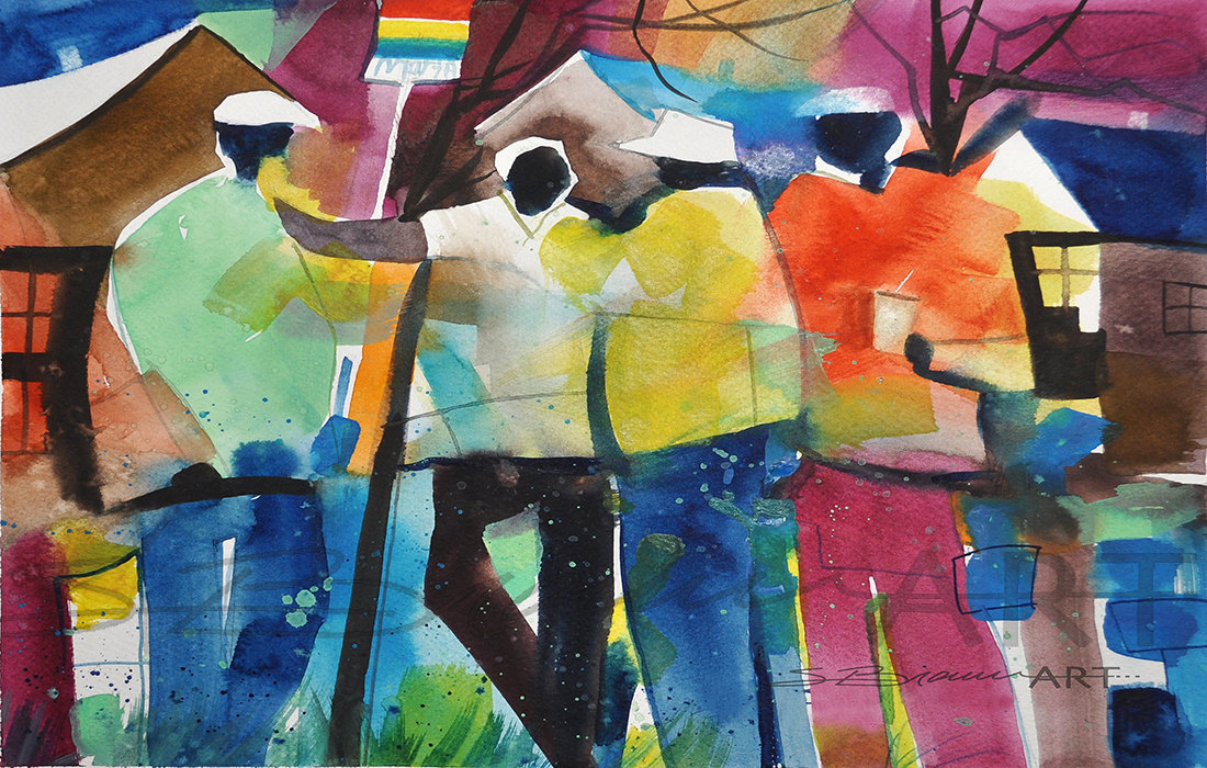 Chattin at the Bus Stop Watercolor Print African American Art
