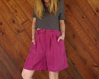 extra 30% off SALE ... Bright Fuchsia Purple Silk High Waist Shorts - Vintage 90s - MEDIUM
