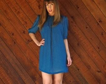 extra 25% off SALE ... Printed Blue Mini Secretary Dress - Vintage 70s 80s - MEDIUM Petite