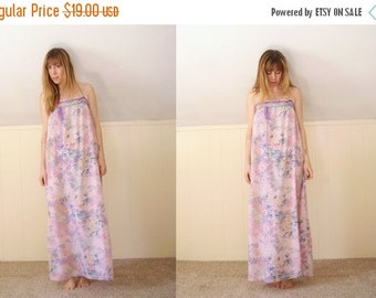 30% off ... Pink Sheer Floral Hippie Boho Maxi Ribbon Dress - Vintage 70s - XS S