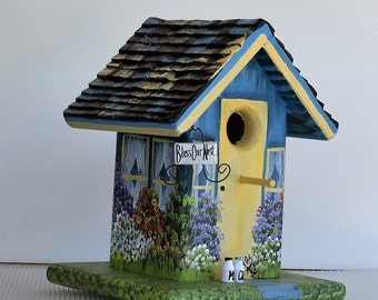 Blue and Yellow Birdhouse , Handmade , Hand Painted , with Clean Out