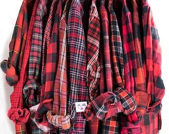 Vintage Red Flannel Cotton Button Down Unisex Grunge Tie Waist Plaid Red Black Shirt