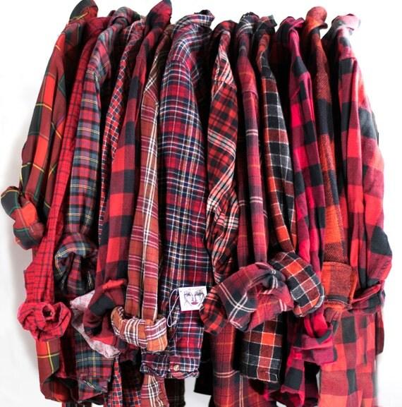 Vintage red flannel cotton button down unisex grunge tie waist for Womens christmas flannel shirt
