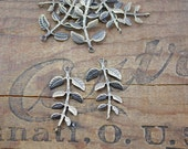 Antiqued Brass Leaf Connector Necklace or Earring Two Loops Link Conntector (2)