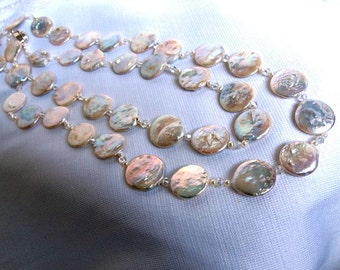 SALE High Luster Large Fashion Keshi Pearl Necklace,Unique Long Strand Round Disc Pearl Statement Necklace,Pink Blues Organic Shape Pearls