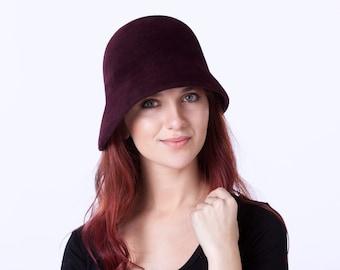 Oxblood Cloche Hat Women's Hat Spring Accessories 1920s Hat Spring Fashion Simple Cloche Hat Winter Burgundy Hat Felt Hat For Women Flapper