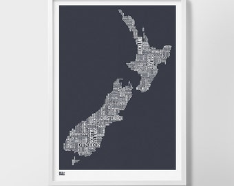 New Zealand Type Map Screen Print, New Zealand Word Map, New Zealand Artwork, New Zealand Wall Poster, New Zealand Wall Print, New Zealand