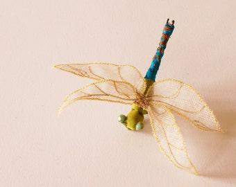 Fiber Art Green Darner Dragonfly Textile Insect Brooch or Hair Fork Hair Pin Entomology Natural History Wildlife Art Washington State