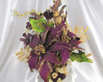 Purple and Gold Silk Christmas Floral Arrangement with Purple Poinsettias, Orchids and Beaded Gold Vase