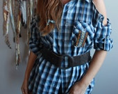 Blue Plaid Open Shoulder Top With Native Trim One Size Upcycled OOAK Hippie Boho Bohemian Chic Free Spirit Style