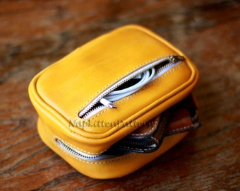 Leather bag,leather iphone case,camera case,leather belt bag,leather cosmetic bag,makeup bag,hand-painted and stitched by napkitten