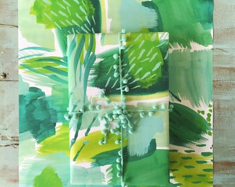 Summer Greens Abstract Gift Wrap