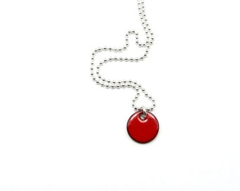 Small Charm Necklace - Tiny Red Pendant - Red Enamel Necklace with Delicate Sterling Silver Chain