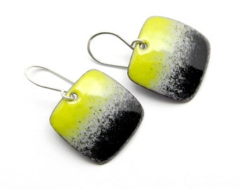 Yellow and Black Earrings - Yellow Enamel Earrings - Modern Earrings - Handmade Enamel Earrings - Yellow Earrings - Modern Jewelry