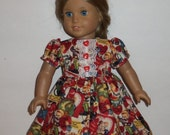 Valentine's Day Doll Dress, Holiday Party Cotton, Retro Vintage Look, 15 Inch Baby Doll,  American Made, Girl Doll, 18 Inch Doll Clothes