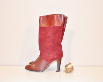 Vintage Boots Crimson / Ruby Red / Oxblood Fashion Heel