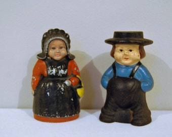 Vintage Amish Couple Metal Banks