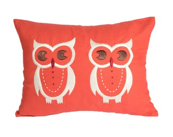 Owls Lumbar Pillow Cover, Decorative Pillow Cover, Red Orange Linen Pillow, Owls Embroidery, Pillow Case, Cushion Cover, Bird Pillow, Modern