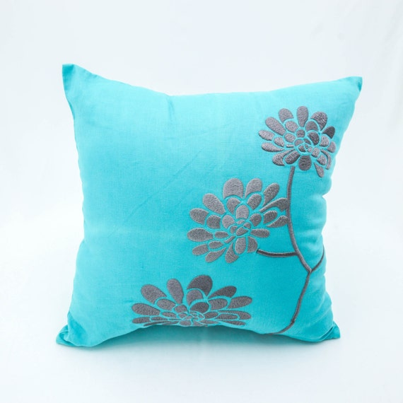 Decorative Pillows Flowers : Teal Throw Pillow Cover Teal Linen Gray Peony Flower