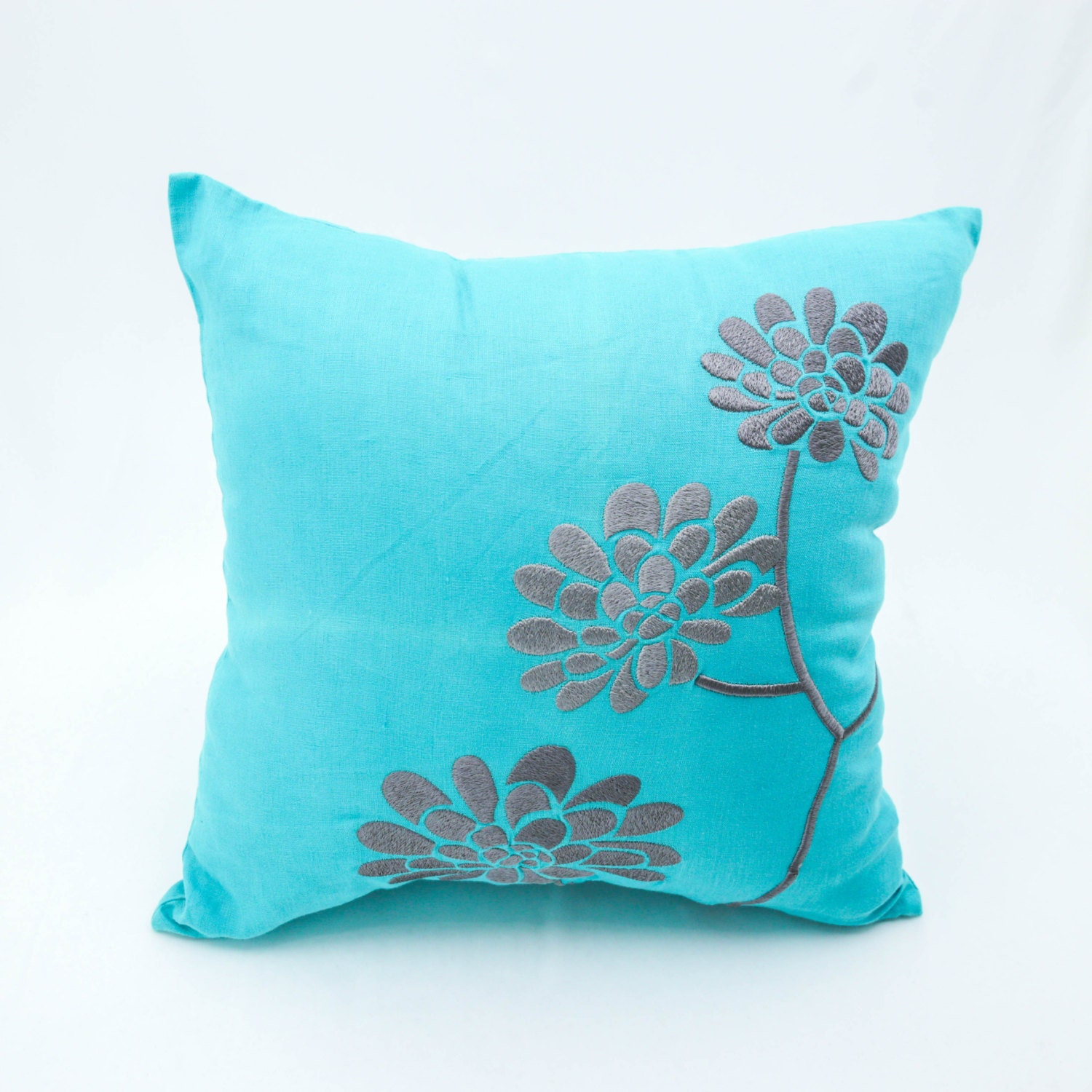 Throw Pillow Covers Teal : Teal Throw Pillow Cover Teal Linen Gray Peony Flower