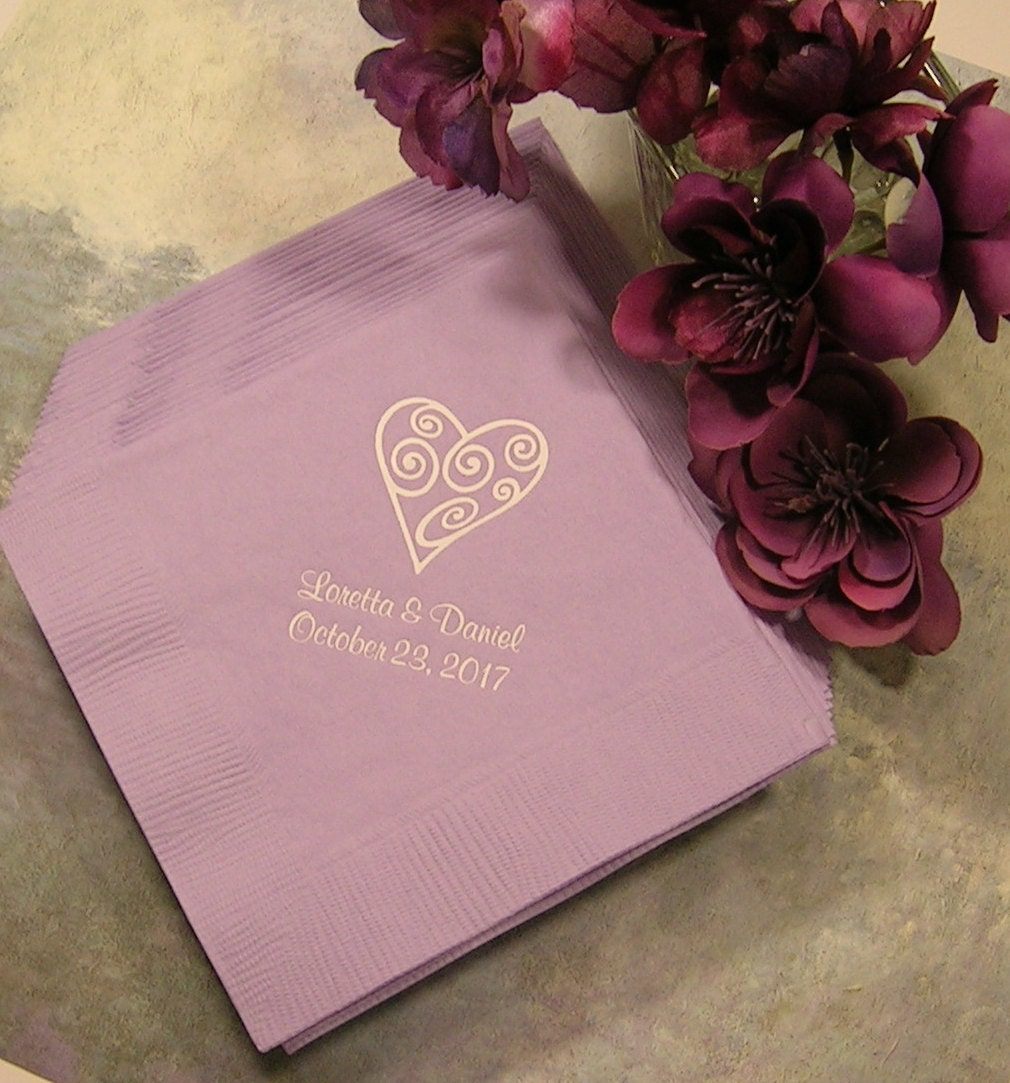 Wedding Napkins Personalized Personalized Cocktail Napkins Set