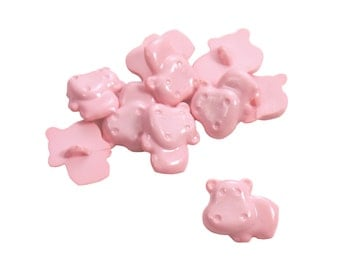 Set of 16 Plastic Novelty Zoo Animal Themed Shank Buttons - Solid Pastel Powder Marshmallow Pink Chubby Hippos (15mm x 13mm)