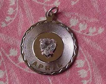 Vintage Sterling April Rhinestone Heart Birthstone Disk Charm