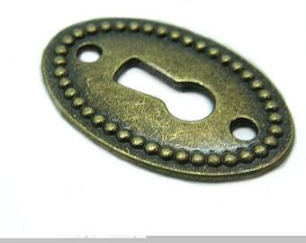 Antique Bronze Key Hole Pendant Boho Gypsy 2 hole Charm Component