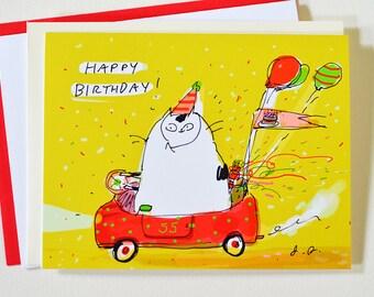 Happy Birthday Card - Birthday Cat Car - Cat Birthday Card - Funny Birthday Card