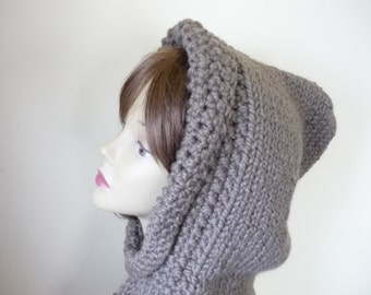 Hooded Cowl Teen/Adult  Chunky Knit Warm Wool Blend - Taupe - Ready to Ship - Direct Checkout