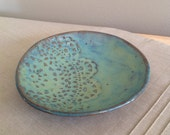 Blue Green Lace Dish, Pottery Ring Holder, Jewelry Catch All, Stoneware Bowl, Gift for Her