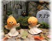 2 Pumpkin Ghost terrarium miniature glazed ceramic  1.5 Inches tall fairy garden halloween decorations