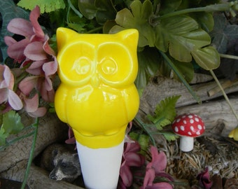 Water Tender Water System  YELLOW   Owl Ceramic  Glazed Vintage styled Hooter
