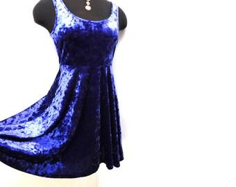 Vintage 90s Royal Purple Velvet Skater Dress Fit Flare A Line Sleeveless Gothic Hippie Festival S Small