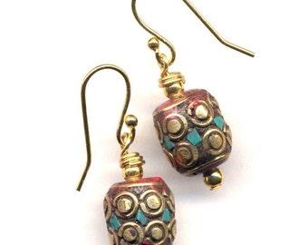 SALE Nepal Coral Earrings, Red Earrings, Ethnic Turquoise Earrings, Nepal beads on 18K Gold Filled wire, handmade Jewelry by AnnaArt72