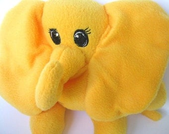 Soft Elephant Plushie Stuffed Animal Embroidered Eyes and Lashes Various Colors Child Toy Infant Nursery No Buttons Washable Shower Gift