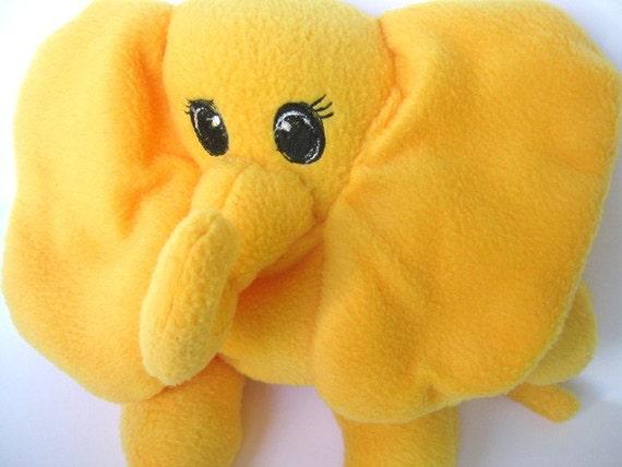 Soft elephant plushie stuffed animal embroidered eyes and