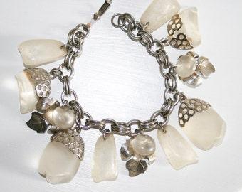 Chunky Frosty Lucite Charm Bracelet