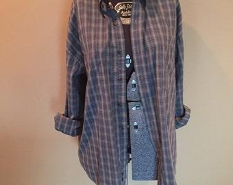 Oversized plaid shirt greys blues