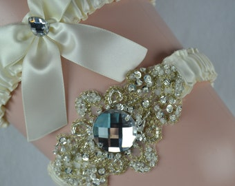 Wedding Garter Set,Ivory Satin Garter, Crystal Beaded Bridal Garter