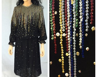 Vintage Black Long Sleeve Sequined Dress. Evening. Formal. Medium. Large. Rainbow Sequins. 1980s. Elastic Waist. Sheer. Red. Gold Silver.