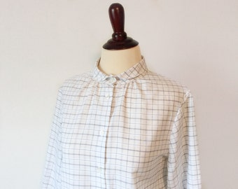 vintage plaid blouse // black and white shirt // 1980's peter pan collar