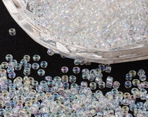 Seed Beads - Transparent with AB - 11/0 Glass Seed Beads - Sold per packet of 50 gram - #SEED116