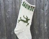 Cream Handmade Knit Christmas Stocking