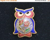 On Sale Pretty Vintage Cloisonne Owl Brooch