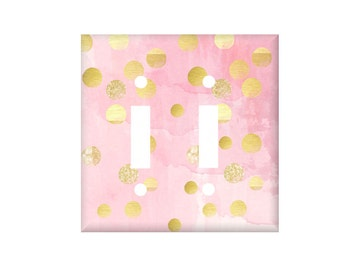 Pink Gold Switchplate Cover / Light Switch Cover / Pink Watercolor Decor / Boho Switch / Lighting Home Decor / Rocker Cover / electrical