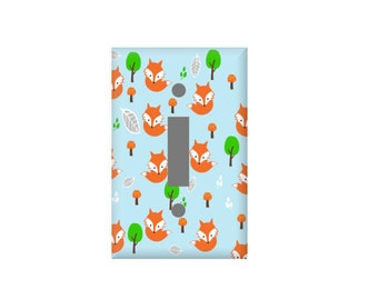 Fox light switch Cover - Fox Nursery  - Baby Decor -  Rocker Plate cover - Electrical Outlet Covers - Double switchplate - blue orange